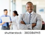 happy african salesman standing ... | Shutterstock . vector #383386945
