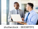 multiracial business people... | Shutterstock . vector #383389591