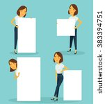 woman holding sign vector set | Shutterstock .eps vector #383394751