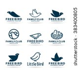 set of various bird symbols and ... | Shutterstock .eps vector #383400805