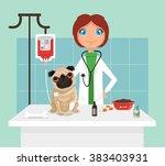 Stock vector veterinarian vetor flat illustration 383403931