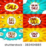 set of pop art comic sale... | Shutterstock .eps vector #383404885