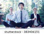 business people practicing yoga ... | Shutterstock . vector #383406151