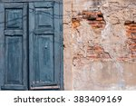 blue windows with the red brick ... | Shutterstock . vector #383409169