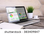 pc with charts and graph ...   Shutterstock . vector #383409847