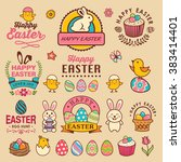 happy easter design with labels ... | Shutterstock .eps vector #383414401
