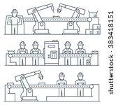 conveyor belt  workers and... | Shutterstock .eps vector #383418151