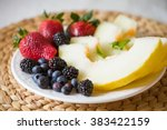 Cut Melon And Berries. Fruit...