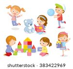 cute kids playing with toys ... | Shutterstock .eps vector #383422969
