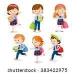 cute pupils in school uniform ... | Shutterstock .eps vector #383422975