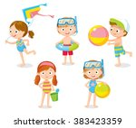 children playing at the beach... | Shutterstock .eps vector #383423359