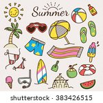 summer vector icon in cute... | Shutterstock .eps vector #383426515