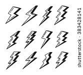 set of simple lightning doodle | Shutterstock .eps vector #383428141