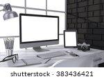 3d illustration pc screen on... | Shutterstock . vector #383436421