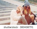 outdoor lifestyle portrait of... | Shutterstock . vector #383438791