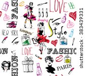fashion seamless pattern.... | Shutterstock .eps vector #383439331