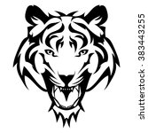 beautiful tiger tattoo.vector... | Shutterstock .eps vector #383443255