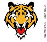 beautiful tiger tattoo.vector... | Shutterstock .eps vector #383443261