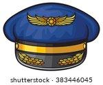 airline pilots hat  aviator cap ... | Shutterstock .eps vector #383446045