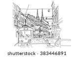 sketch of ilica    main street... | Shutterstock .eps vector #383446891