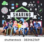 sharing social media technology ... | Shutterstock . vector #383462569