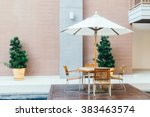 empty table and chair with... | Shutterstock . vector #383463574
