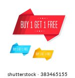 buy 1 get 1 free tags | Shutterstock .eps vector #383465155