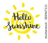 hand lettering art piece hello... | Shutterstock .eps vector #383467111