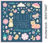hello spring card. cute hand... | Shutterstock .eps vector #383473687