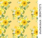 floral sunflower  narcissus ... | Shutterstock .eps vector #383475271