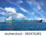 oil tanker ship at sea on a... | Shutterstock . vector #383476381
