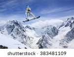 flying snowboarder on mountains.... | Shutterstock . vector #383481109