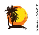 tropical palm trees silhouettes ... | Shutterstock .eps vector #383489299