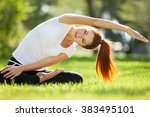 pretty woman doing yoga... | Shutterstock . vector #383495101