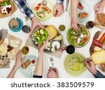 view from above the table of... | Shutterstock . vector #383509579