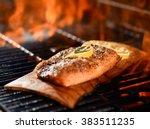 seasoned salmon fillet cooking...   Shutterstock . vector #383511235