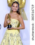 Small photo of Alicia Vikander at the 88th Annual Academy Awards - Press Room held at the Loews Hollywood Hotel in Hollywood, USA on February 28, 2016.