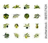 olive branch. set of vector... | Shutterstock .eps vector #383517424