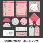 colorful greeting wedding... | Shutterstock .eps vector #383519995