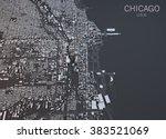 chicago map  satellite view ... | Shutterstock . vector #383521069