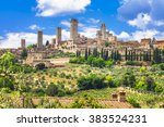 landscapes of italy. medieval... | Shutterstock . vector #383524231