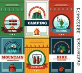 camping poster set with hiking... | Shutterstock .eps vector #383524471