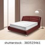 double mattress bed in home... | Shutterstock .eps vector #383525461