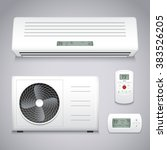 air conditioner realistic set... | Shutterstock .eps vector #383526205