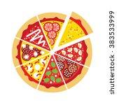 flat pizza logo. vector pizza... | Shutterstock .eps vector #383533999