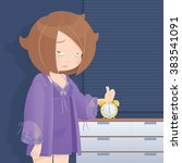 drowsy girl waking up in the... | Shutterstock .eps vector #383541091