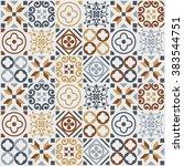 vintage tile pattern. vector... | Shutterstock .eps vector #383544751