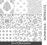 set of 9 monochrome floral... | Shutterstock .eps vector #383561131