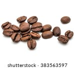 roasted coffee beans isolated... | Shutterstock . vector #383563597