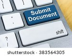 written word submit document on ... | Shutterstock . vector #383564305